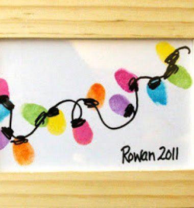 Fingerprint christmas lights - christmas card // Karácsonyi izzós képeslap/kép ujjlenyomatokból // Mindy - craft tutorial collection