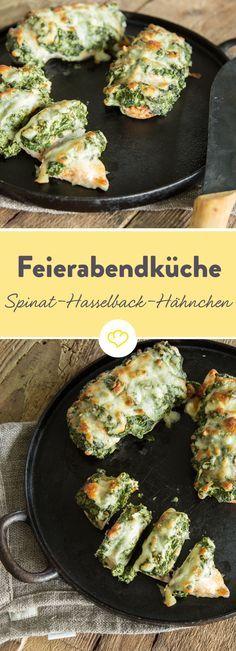Schnelles Schlemmer-Abendessen: Gratiniertes Hähnchenbrustfilet mit würzig, cremiger Spinat-Frischkäse-Füllung - einfach gemacht und einfach lecker.