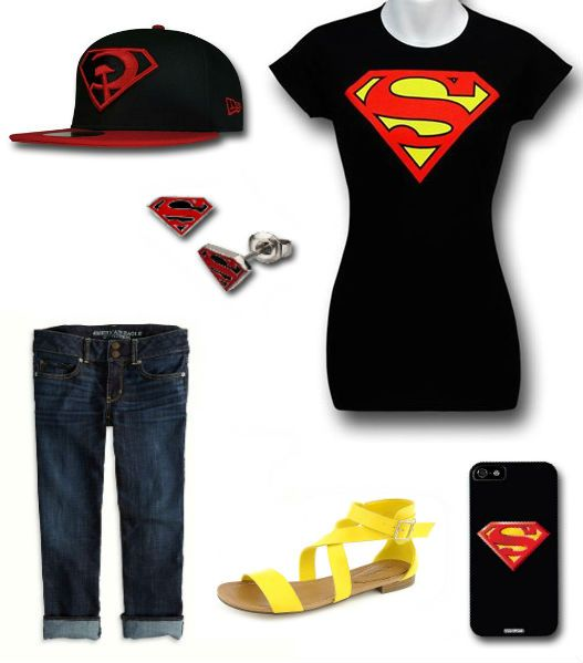 "LADIES' NIGHT: ""Superman Outfit"" by Korri Burkert 59fifty Cap: http://www.superherostuff.com/superman/baseball-caps/superman-red-son-59fifty-cap.html?itemcd=capsuprdsn5950 Earrings: http://www.superherostuff.com/superman/earrings/superman-black-and-red-epoxy-symbol-stud-earrings.html?itemcd=earsuprdblkepxy iPhone5 Case: http://www.superherostuff.com/superman-cellphone-covers.html  Women's Nadia: http://www.shiekhshoes.com/p-48188-breckelles-womens-nadia-16-sandals-yellow.aspx"