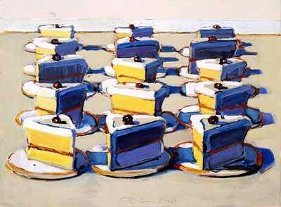 Often associated with the so-called Pop Art movement of the 1960s, Wayne Thiebaud is perhaps best know for his wry yet carefully studied still lifes of commonplace objects, such as cakes, slices of pies, sandwiches, clothing and household goods.