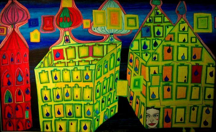 Hundertwasser Yellow Houses, It hurts to wait with Love, if Love is somewhere else, 1966.
