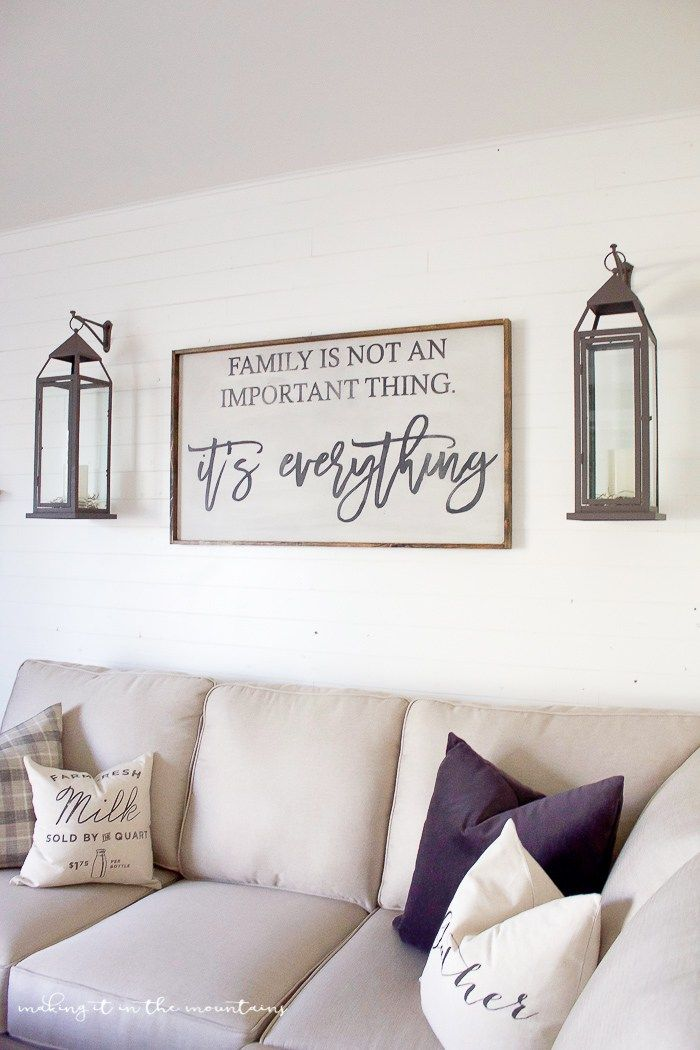 pinterest home decor living room%0A One Room Challenge  Week Six   Farmhouse Style Family Room Reveal   Farmhouse Living Room DecorFarmhouse LampsFarmhouse Wall