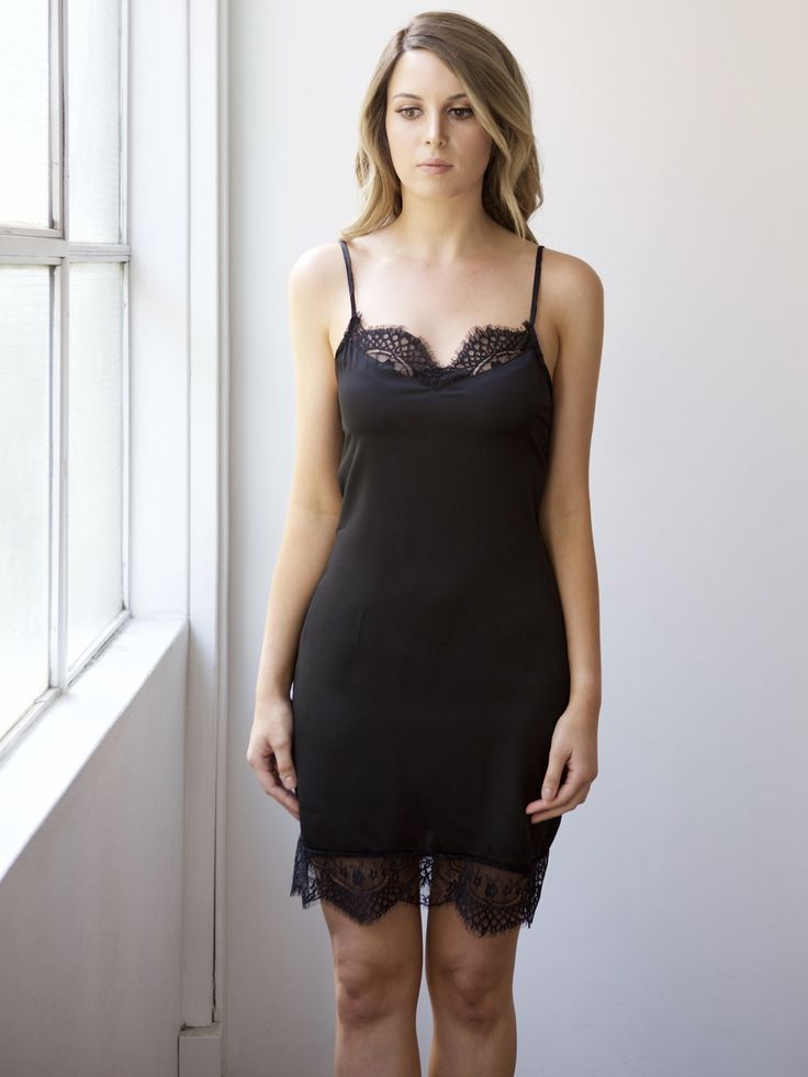 Pretty black lace trim silk bridal slip for brides, bridesmaids or engagement parties. Designed by Bronte & Clyde - repin on your inspo board now!