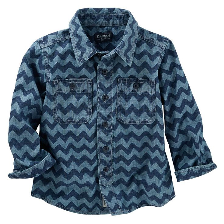 Toddler Boy OshKosh B'gosh® Denim Wave Print Button-Up Shirt, Size: 3T, Blue Other