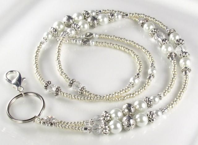 Beaded Lanyard ANTIQUE PEARL ID Badge Holder by curlynetto, $25.99 USD