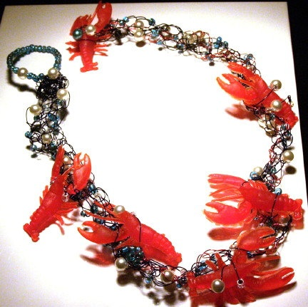 Red Rock Lobster Buffet Crocheted Wire Necklace HOLIDAY SALE. $19.99, via Etsy.