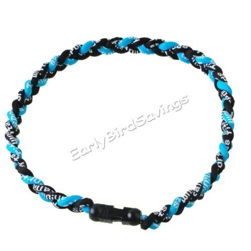 "Black and Blue Titanium Ionic Sports Baseball Necklace 20"" 3 Rope Tornado Braid | eBay"