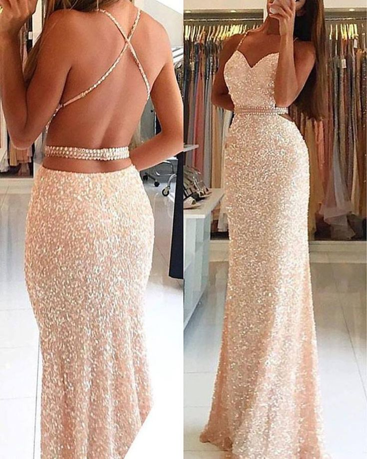 Sequins Lace Mermaid Prom Dress,Open Back Long Prom Dress,Sequins Formal Dress,PD2173 from DidoPromCouture