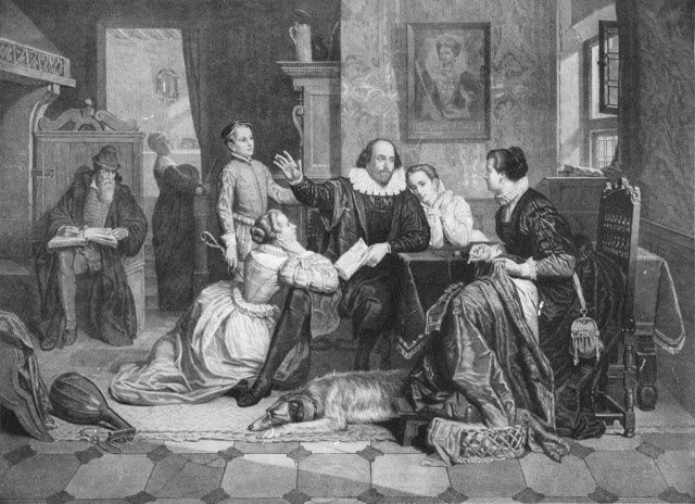 Shakespeare reading Hamlet to his family  with his son Hamnet standing, Susanna and Judith on either side  and his wife Anne seated opposite  engraving by unknown artist, 1890