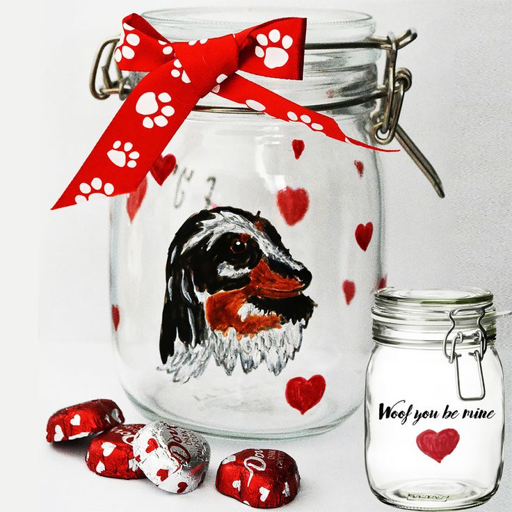 Looking for a special Valentine's Day gift for a dog lover? We create personalized gifts for pet lovers, like this dog treat jar featuring a hand painted portrait of their pet.