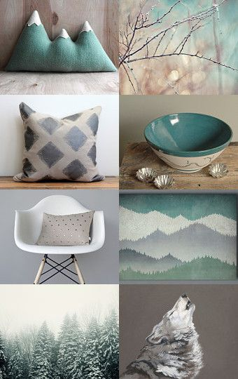 A modern mountain cabin: autumn finds in teal and beige.