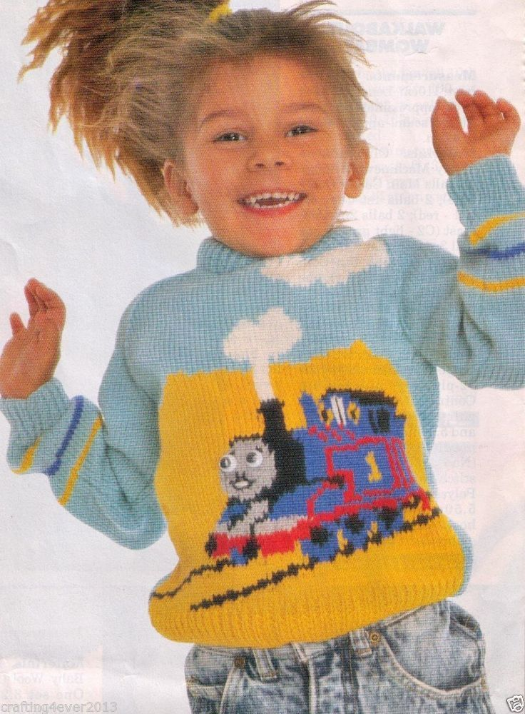 KNITTING PATTERN CHILD'S 1980'S THOMAS THE TANK ENGINE 2 JUMPER 55-70 CMS 8PLY