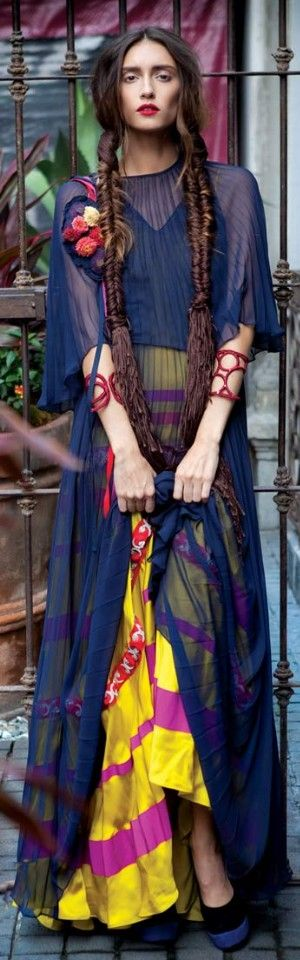 Long blue sheer dress over bright yellow and pink skirt, with flowers and braids. YES!!! | WUB2: Bohemian Mood