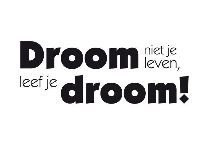 - Nieuw - Droom niet je leven, leef je droom!, 80x29cm, vanaf 36,90 €