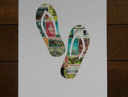 Jandals Stamp Art   Felt
