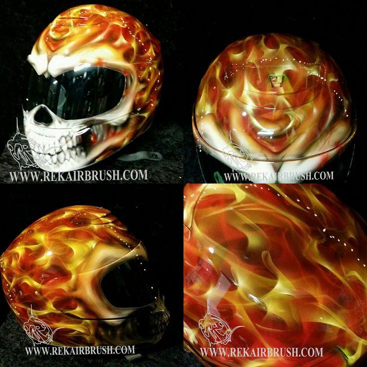 True Fire SKULL WITH FLAMES Shoei helmet by WWW.REKAIRBRUSH.COM