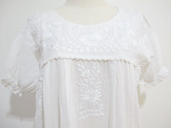 Mexican Embroidered Blouse White Cotton Top, Boho Blouse, Bohemian Top