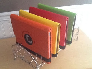 Cheap iPad storage - one at each table? I wanted to do chair pockets for them, but those are out if I do yoga balls. This might keep them from constantly opening them.