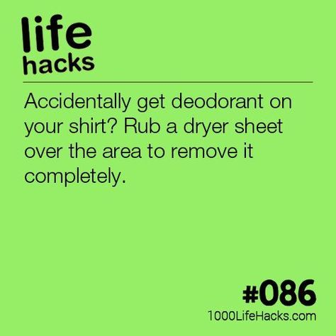 The post #086 – How To Get Deodorant Off Your Clothes appeared first on 1000 Life Hacks.