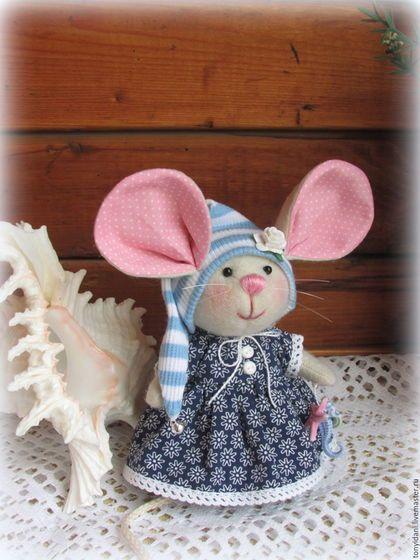 Fabric mouse toy / Игрушки животные, ручной работы. Мышка  - малышка с большими ушами Хочу на море!. Евгения Крылосова. Интернет-магазин Ярмарка Мастеров.
