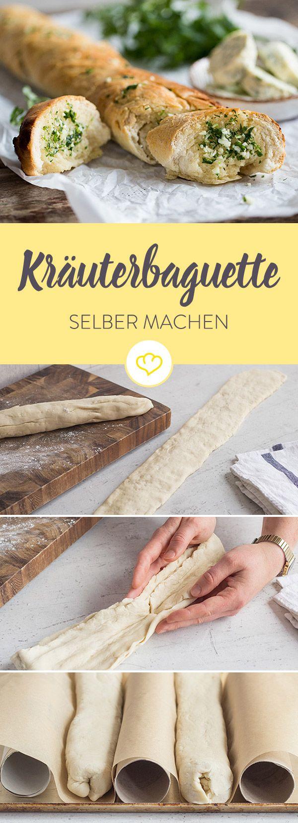 Der Klassiker zum Selbermachen: Im warmen Ofen zieht die aromatische Butter in den lockeren Hefeteig ein und macht das Baguette richtig schön saftig.