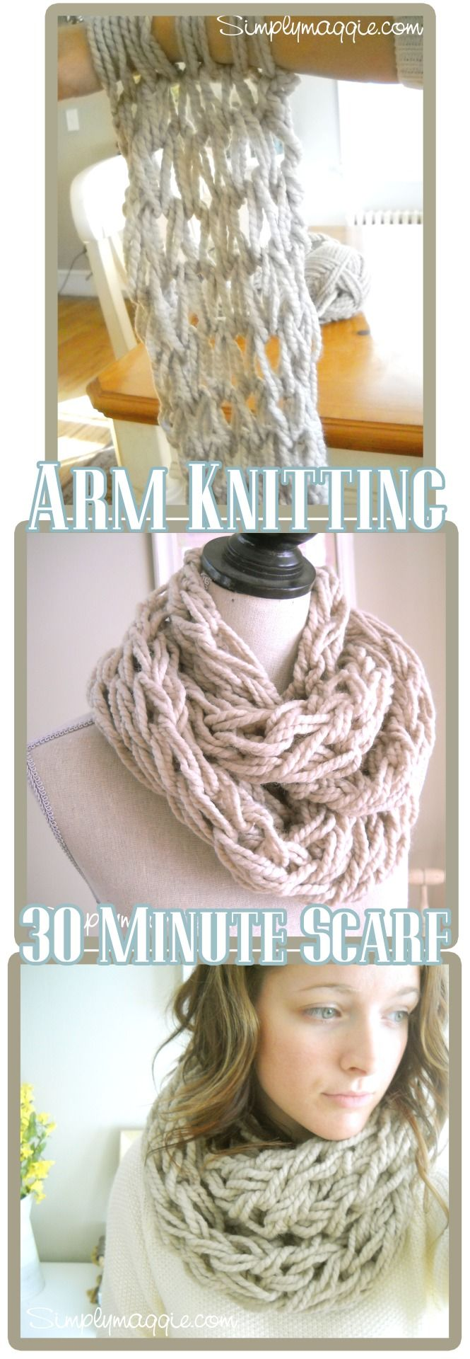 DIY Arm Knit Chunky Scarf Tutorial from Simply Maggie here. I have never done arm knitting but she has a really good YouTube video. Here are two more of her scarves done in Bernat Roving Yarn here.