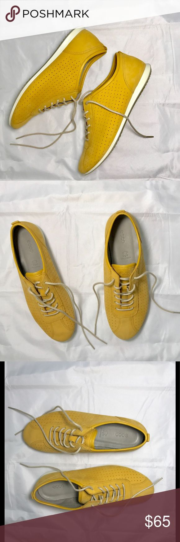 Ecco Soft Touch Sneaker Anyone who knows Ecco knows it's synonyms with comfort. Touch Sneaker in Saffron. Nubuck suede. Wore once. Almost new condition. Very pristine. EUC! In original box. Size 6 but fits 6.5 because that's what I wear in Eccos. Ecco Shoes Sneakers