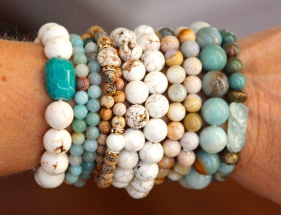 White Magnesite Stretch Bracelet with Aqua by HappyGoLuckyJewels, $22.00