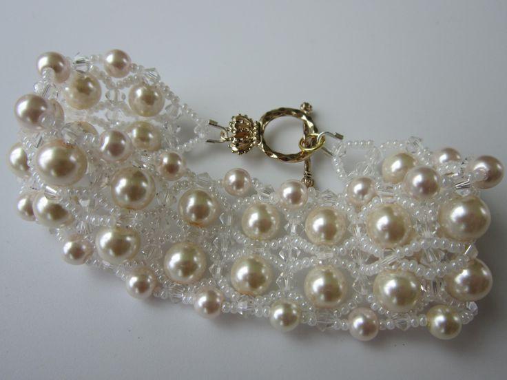 Bracelet with 8mm \ 4mm Pearl , SB and 4mm SW bicones. Браслет из бисера...