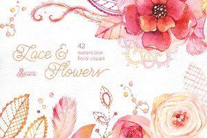 Lace & Flowers. Floral clipart
