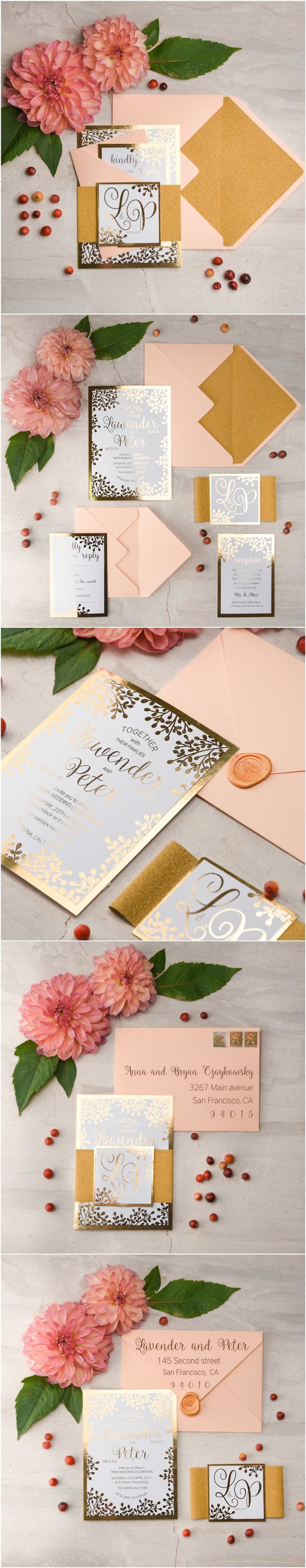 all ireland wedding invitations%0A Peach  u     Gold Wedding Invitations  gold  glitter  weddinginvitations   elegant  glamorous