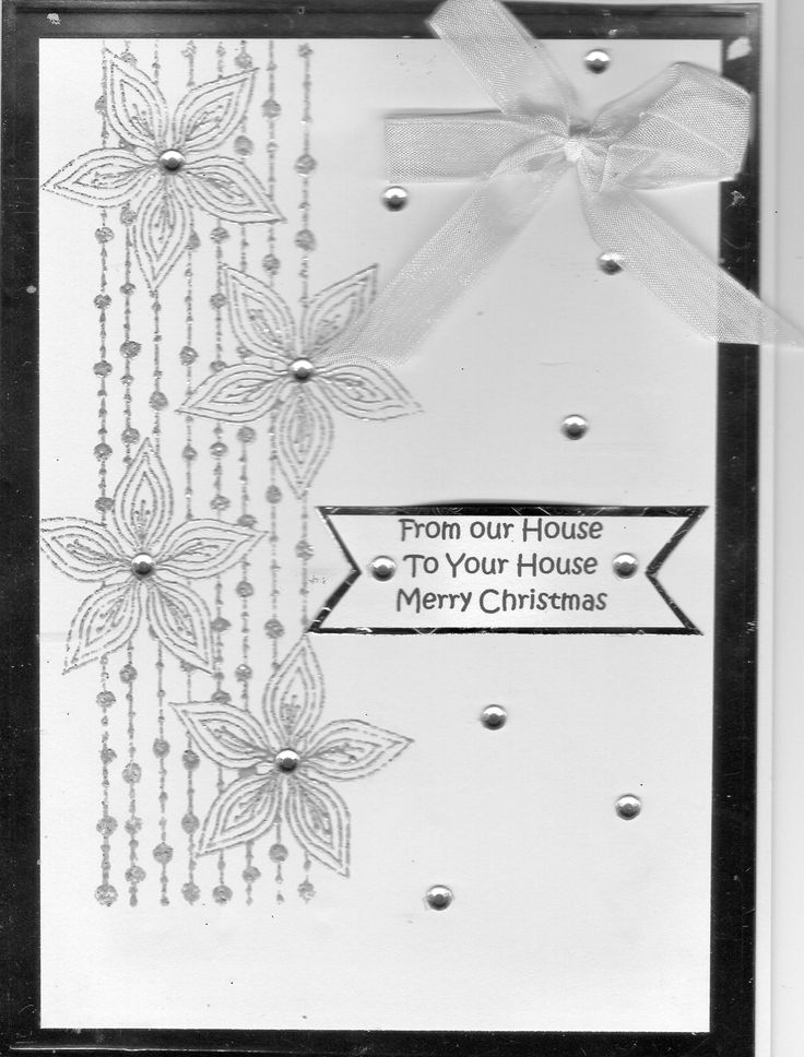 Chloe stamped images heat embossed in silver - From your house to yours at Christmas