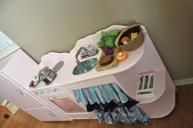 Pink Play kitchen with Amy Butler love sink curtains by BeingBrook, via Flickr