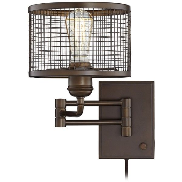 Industrial Cage Plug-In Swing Arm LED Wall Lamp ($130) ❤ liked on Polyvore featuring home, lighting, wall lights, brown, arm light, plug in wall lights, swing-arm sconce, plug in sconce and plug in dimmer