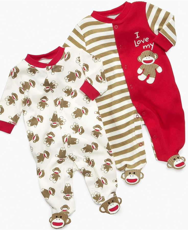 Baby Boys Sock Monkey Coverall