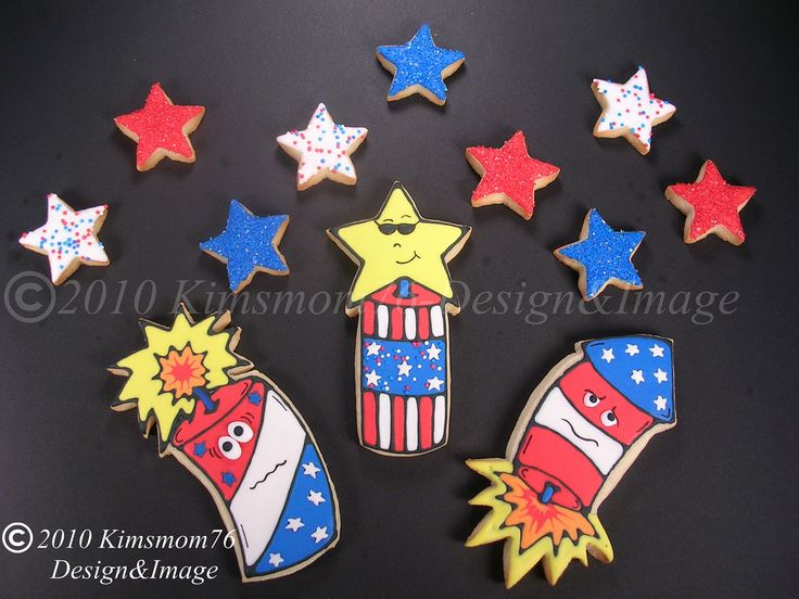 https://flic.kr/p/8fetmU | 4th of July Fireworks Cookies | We watch the local fireworks display from our backyard every 4th of July. A couple of my grandkids get scared and hide in the house, so I made these cookies for them. I added the facial features to some of my old drawings awhile back for this purpose.