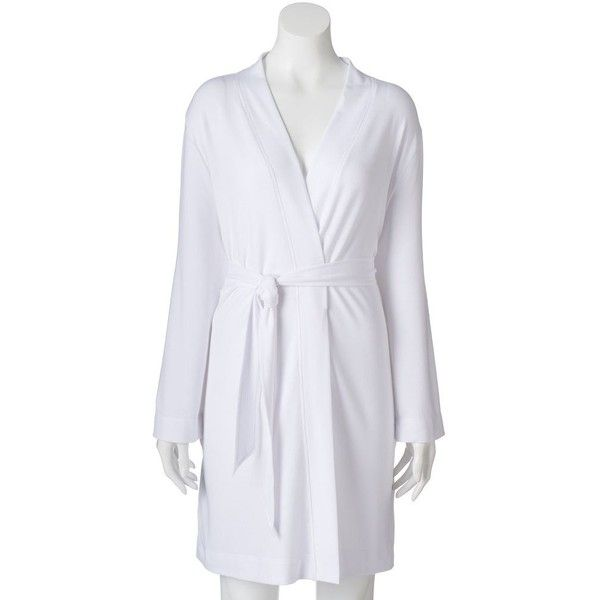 Women's SONOMA Goods for Life™ French Terry Short Robe ($30) ❤ liked on Polyvore featuring intimates, robes, white, short bath robe, dressing gown, white robe, tie belt and short bathrobes