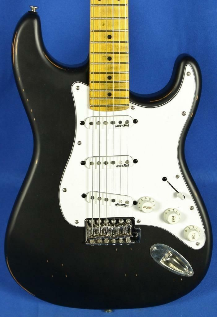 Vintage Icon Series V6 Relic Strat Distressed Black Electric Guitar Wilkinson Price 479 Black Electric Guitar Electric Guitar Acoustic Guitar For Sale