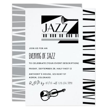 Jazz Blues Theme Party invitation - birthday cards invitations party diy personalize customize celebration