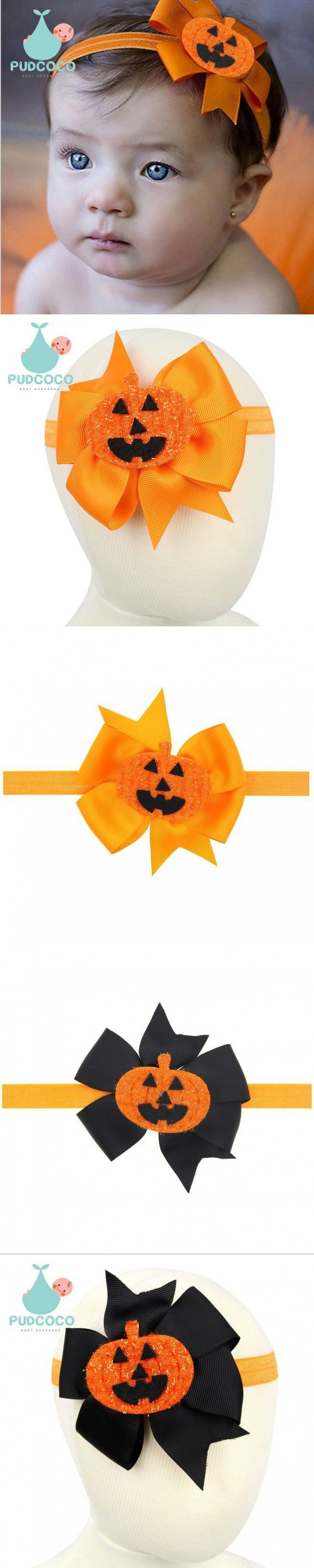 1 pieces New Arrive Halloween Style Baby Golden Bow Knot Horror Pumpkin Head Hair Band Baby Headband Elasticity Accessories W152
