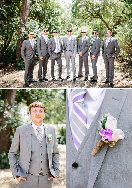 Lavender Burlap And Twine Wedding Grey Suit Wedding
