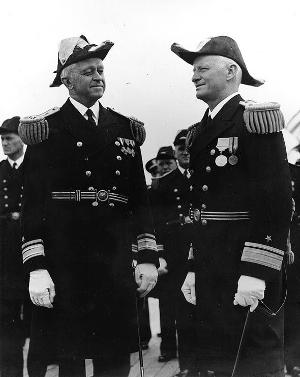 Rear Admiral Russell Willson relieving Rear Admiral Chester Nimitz as Commander US Navy Battleship Division One aboard USS Arizona, San Pedr...