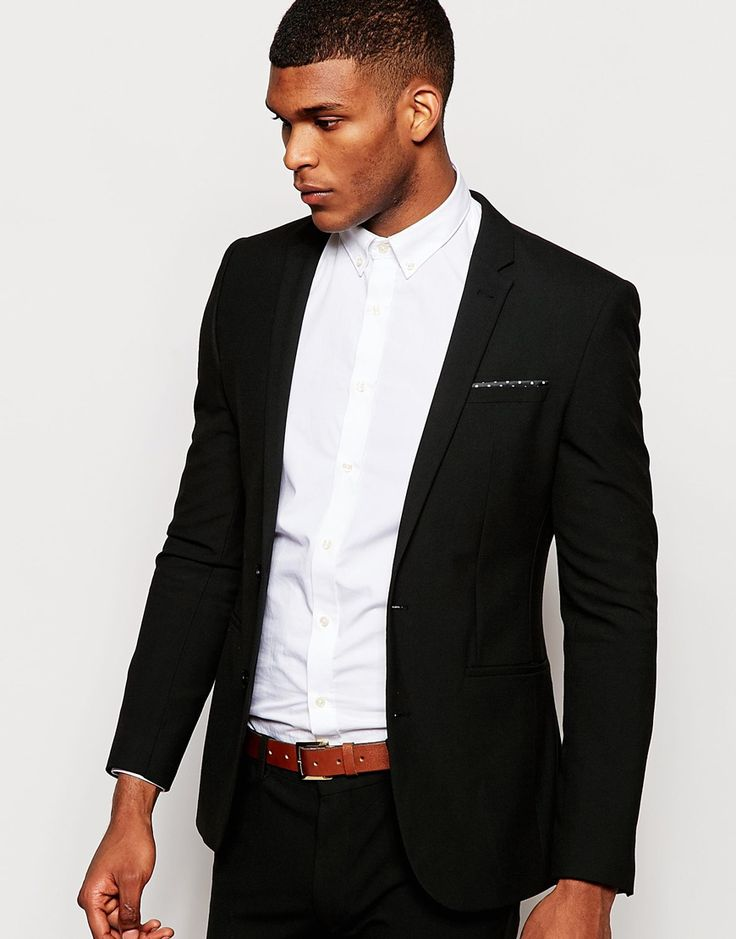 """Suit jacket by ASOS Soft touch, woven fabric Contains stretch for comfort Notch lapels Two button opening Lined with internal pocket Functional pockets Super skinny - cut closest to the body Dry clean 64% Polyester, 31% Viscose, 5% Elastane Our model wears a 40""""/102 cm and is 6'2""""/188 cm tall Comes in a suit bag"""