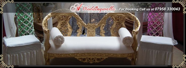 """Happiness is anyone and anything at all, that's loved by you."" A1 Weddingwalla offer royal style wedding sofa. For booking call us at 07958 330043 or visit http://www.a1ww.co.uk. #weddingstage #stage #royalsofa #sofadesign #sofa #chairs"