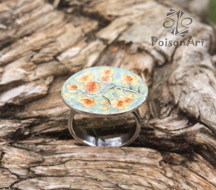 "Ring 💍 ""Sakura"" 🌸 silver 999, hot enamel.  Кольцо 💍 ""Сакура"" 🌸, серебро 999, горячая эмаль."