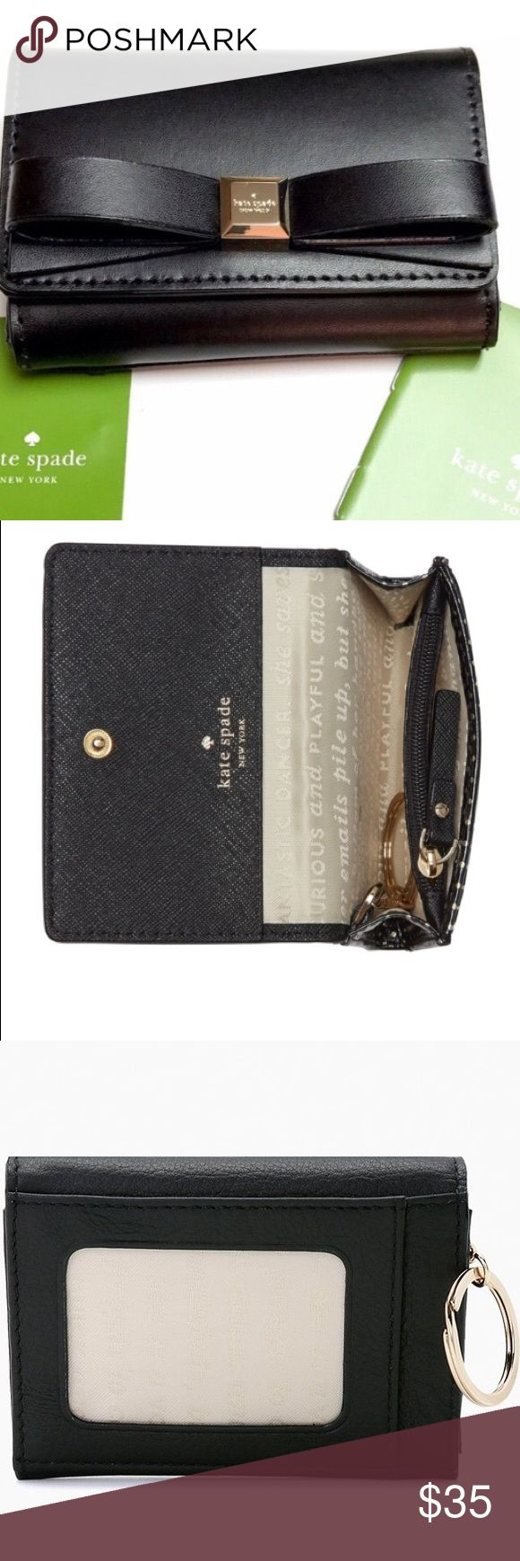 Kate Spade Black Darla Wallet Super cute authentic kate spade wallet with keychain. Picture window for id on the backside credit card holder on the inside with zipper closure for coins and slot for bills. New with tags. measurements:3h x 4.5 w x 1d. Attached key chain inside. kate spade Bags Wallets