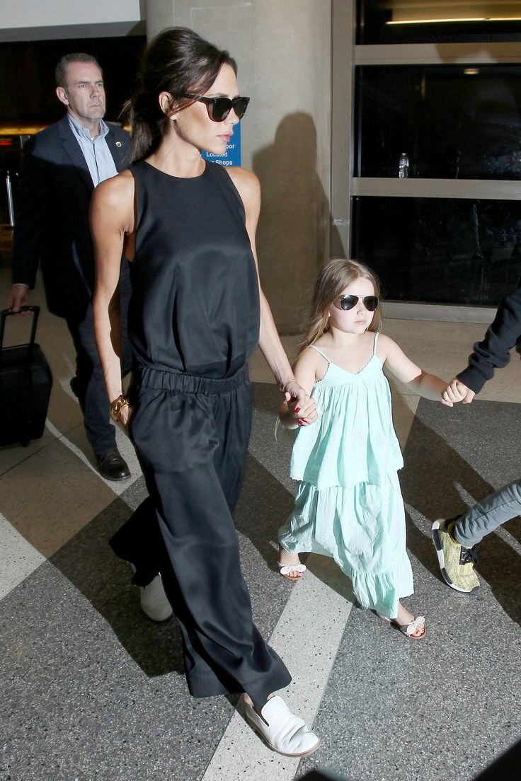 Victoria and Harper Beckham Do Mommy-and-Me Style at the Airport