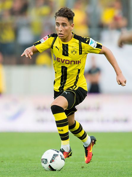 Emre Mor of Borussia Dortmund in action during the friendly match between Hallescher FC and Borussia Dortmund at ErdgasSportpark on August 23 2016 in...