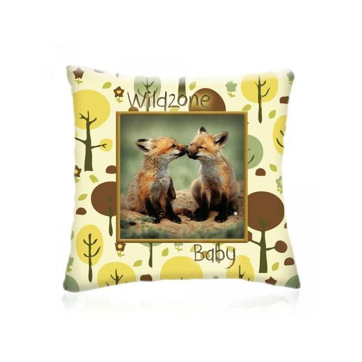 WILD ZONE Baby RÓKÁK állatos díszpárna 28x28 cm - Díszpárna.com Webáruház