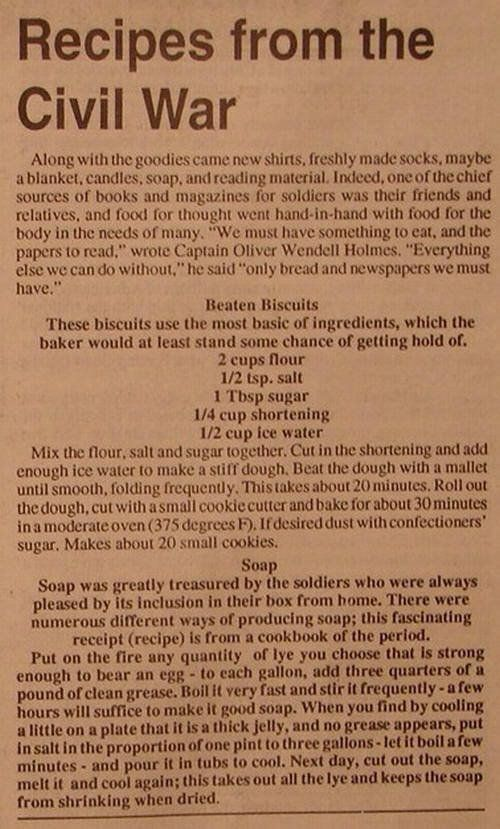 Recipes from the Civil War: Beaten Biscuits Soap